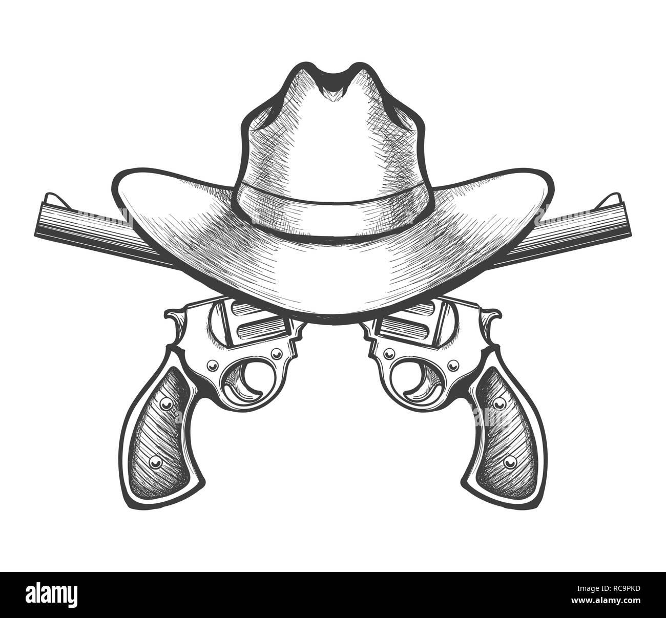 Cappello da cowboy e una coppia di attraversata pistola pistola revolver  disegnato in un fatto a b13fa52e0309