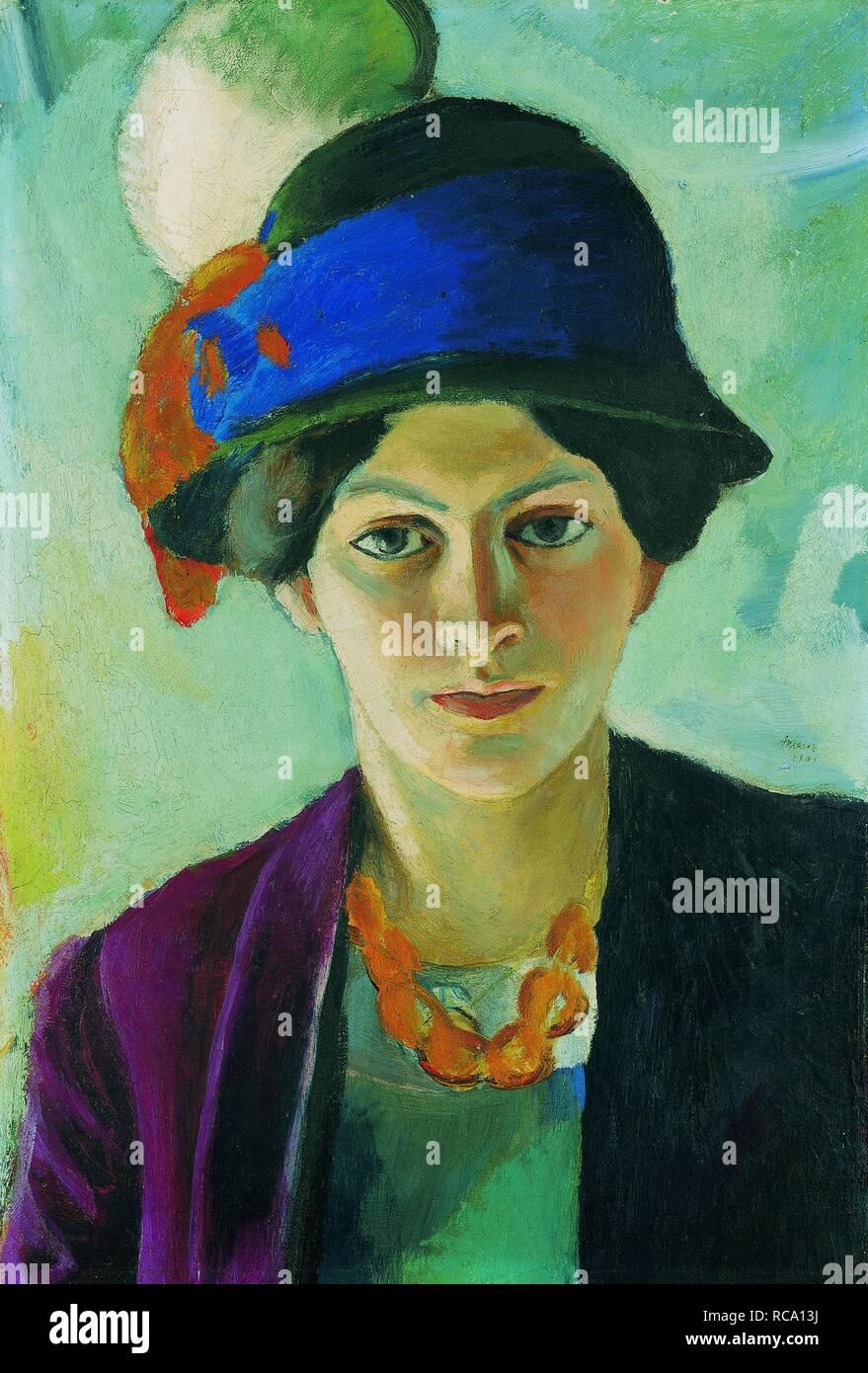 Artista della moglie con Hat. Museo: Collezione privata. Autore: MACKE, agosto. Immagini Stock