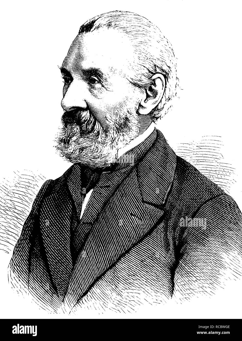 Ernst Heinrich Carl von Dechen, 1800 - 1899, un professore di ingegneria mineraria e inventore, storica incisione, circa 1889 Immagini Stock