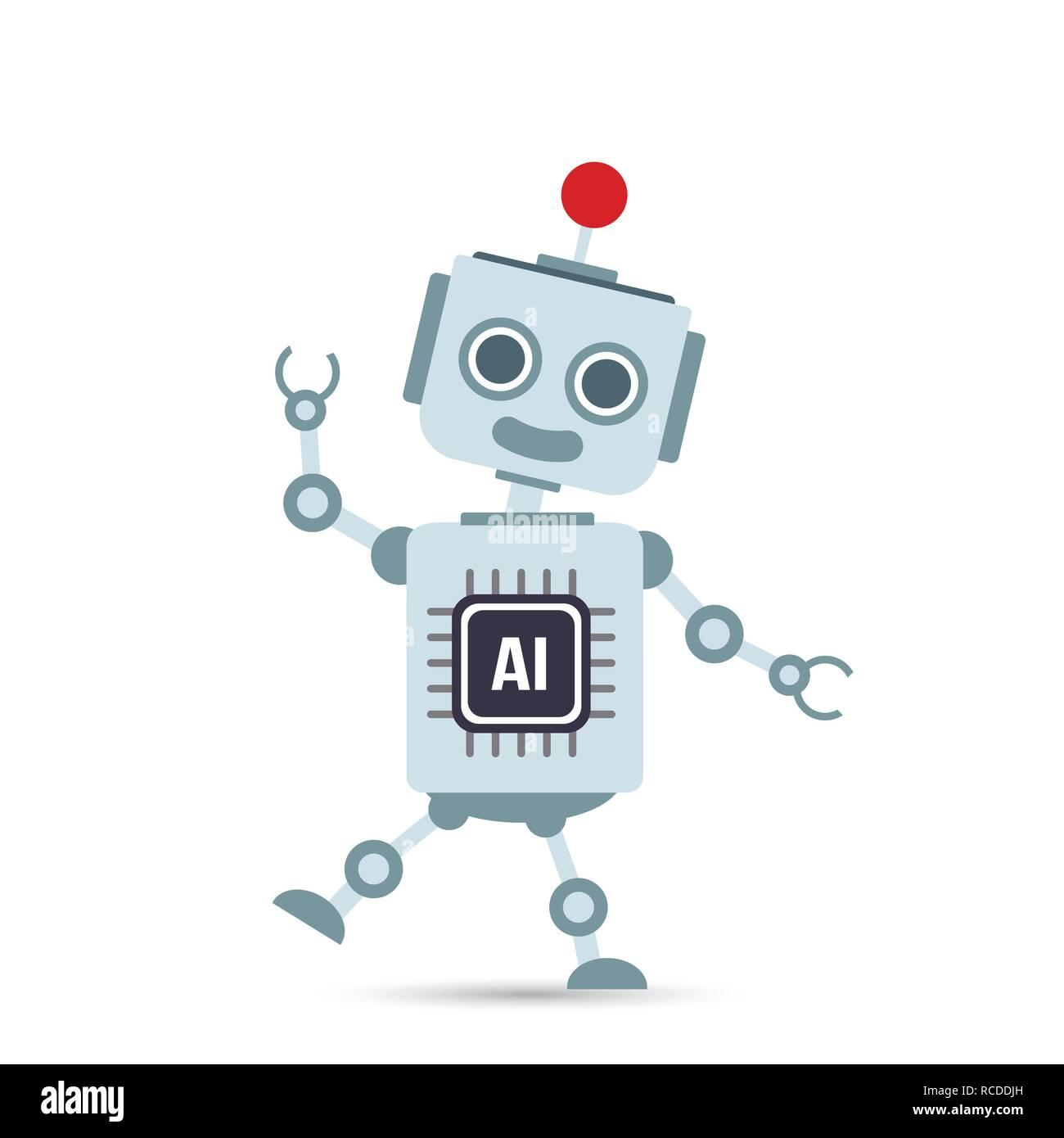 AI intelligenza artificiale robot tecnologia cartoon elemento di design illustrazione vettoriale EPS10 Illustrazione Vettoriale