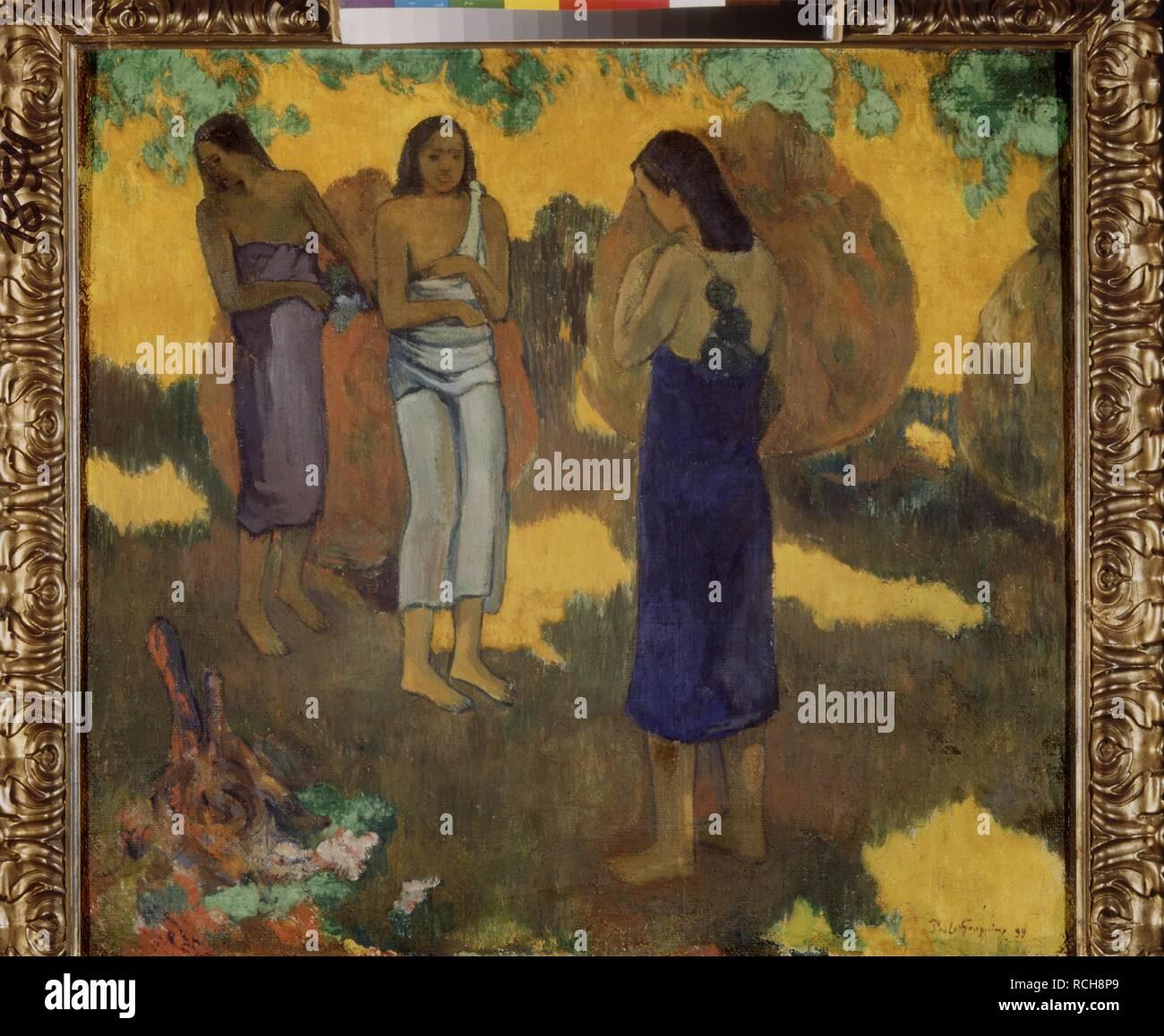 Tre donne tahitiane contro uno sfondo giallo. Museo: Membro Hermitage di San Pietroburgo. Autore: Gauguin, Paolo Eugéne Henri. Immagini Stock