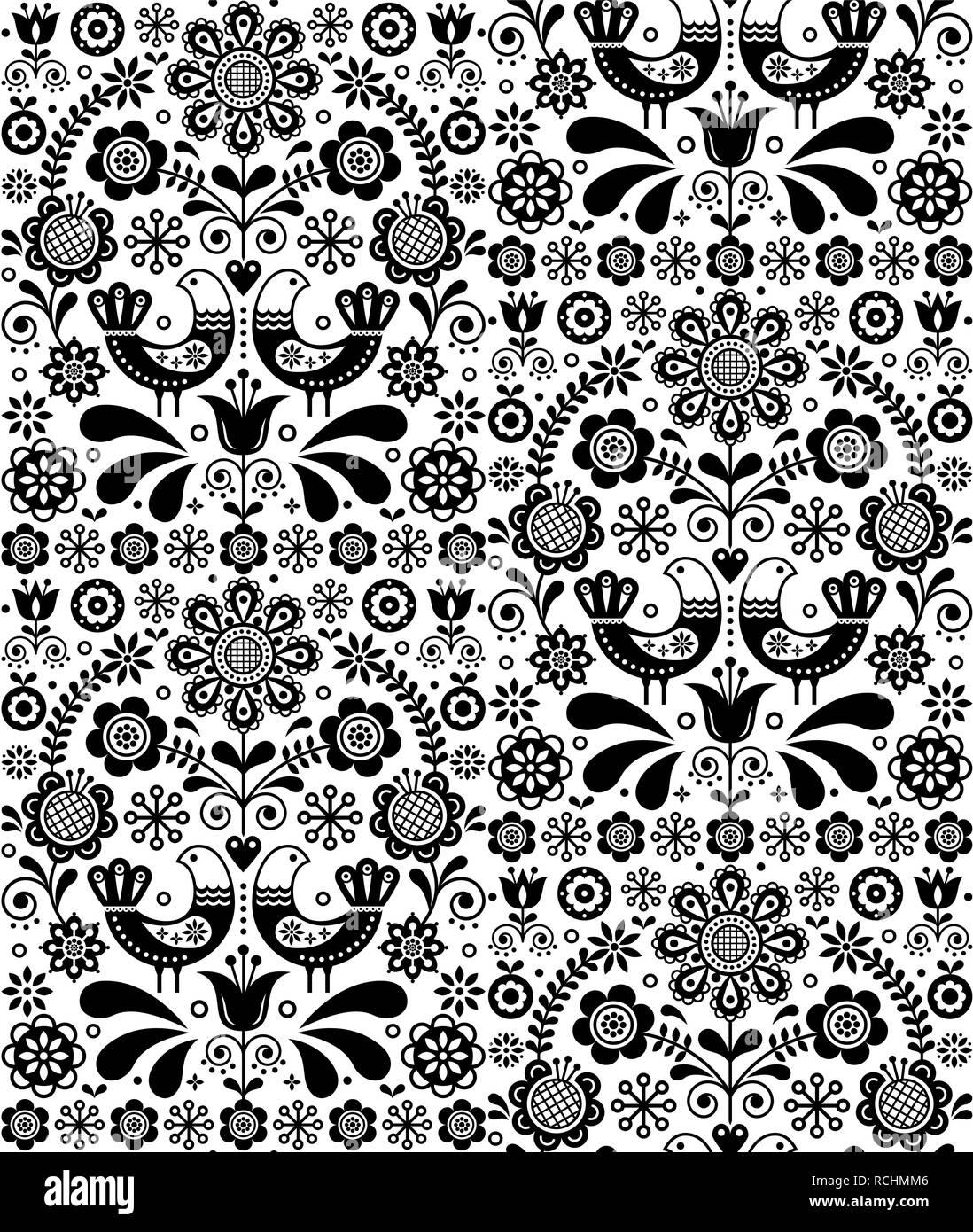 Scandinavian perfetta di arte popolare modello di vettore, floral background ripetitivi con uccelli e fiori, ornamento monocromatica. Decorazione floreale parete etnica Immagini Stock