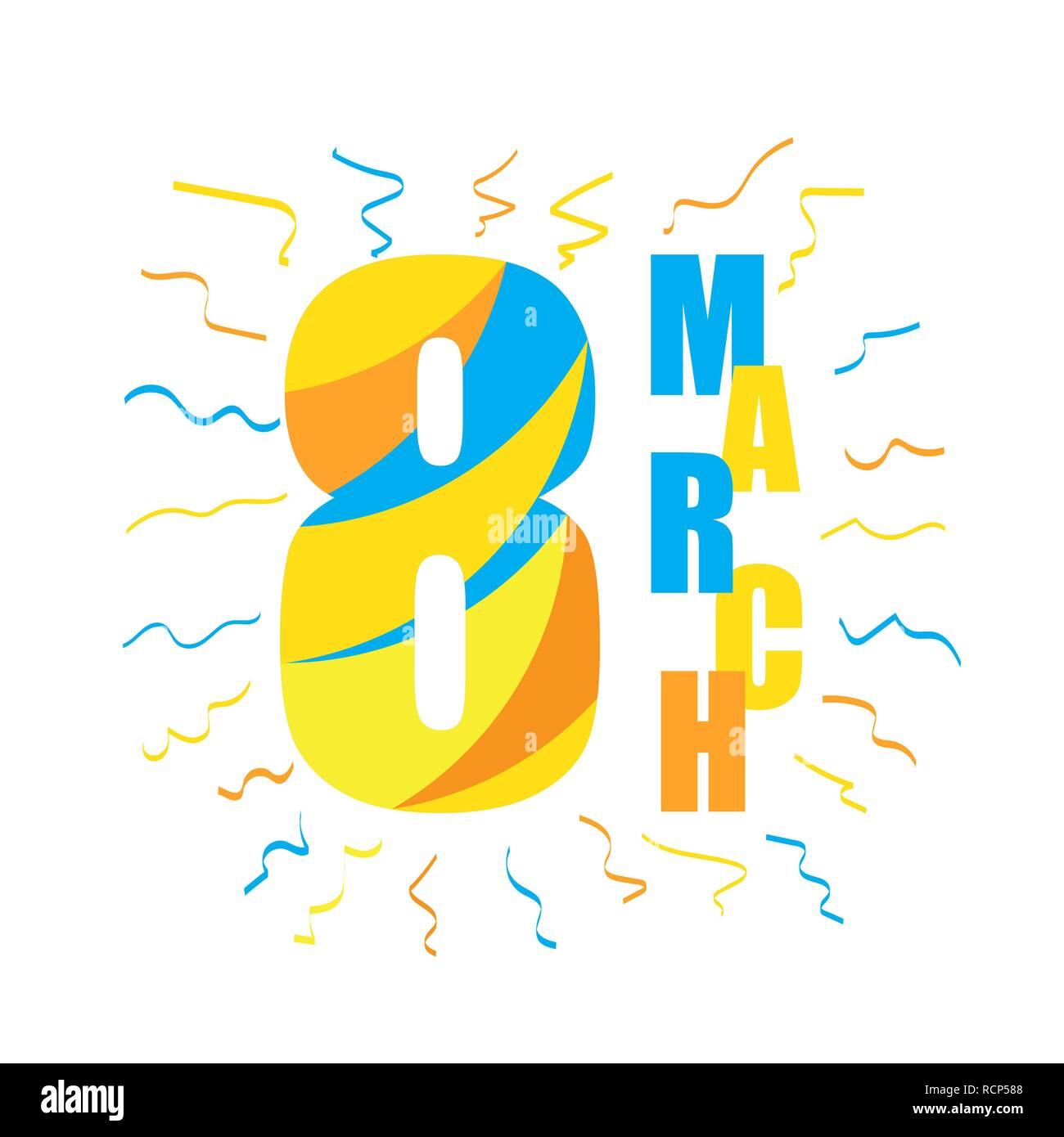 1d2dd1516f3f 8 Marzo Giornata della donna biglietto di auguri. Illustrazione Vettoriale.  Scheda carino per il