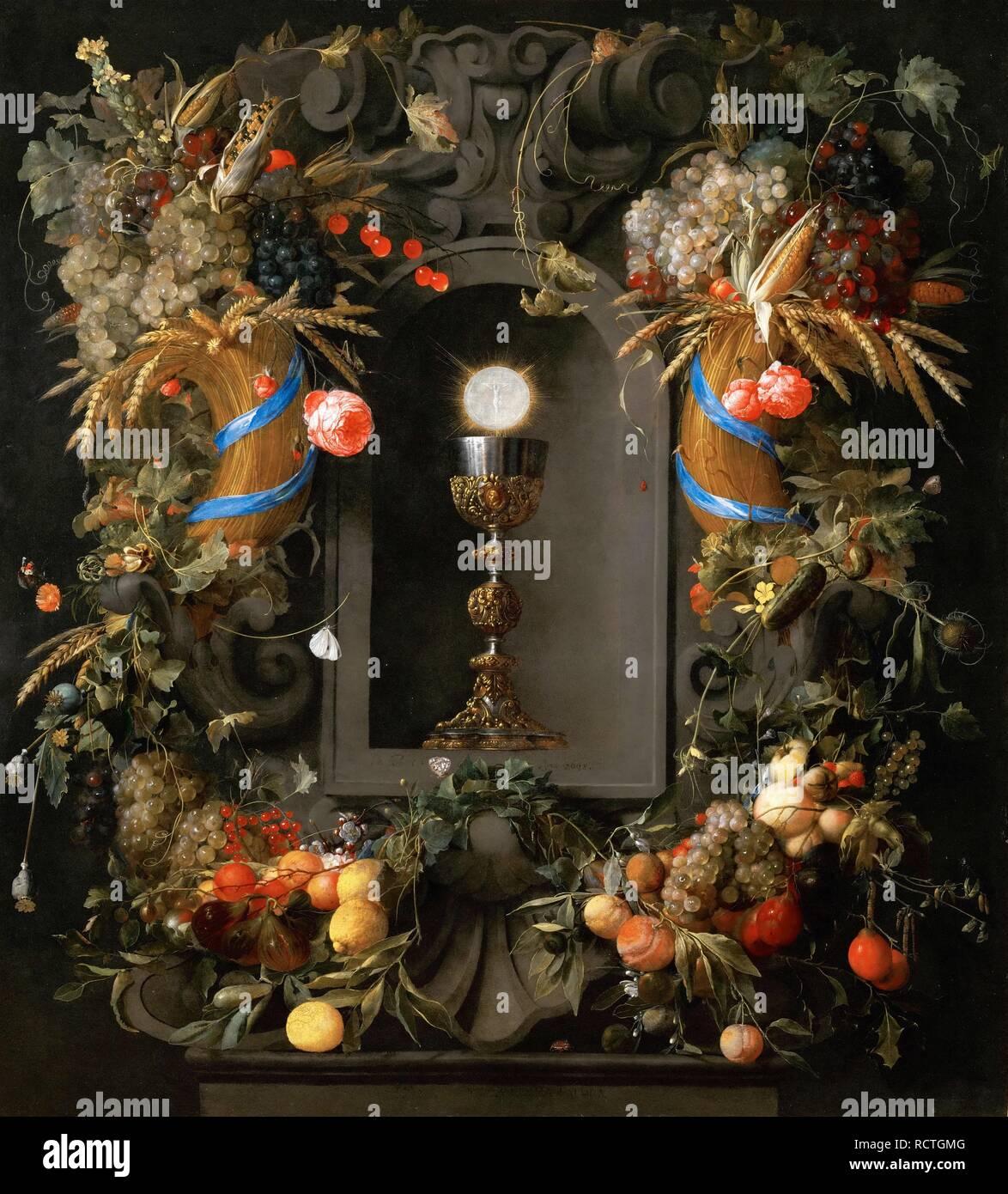 Eucaristia nella corona di frutta. Museo: Museo di Storia dell'arte, Vienne. Autore: HEEM, JAN DAVIDSZ DE. Foto Stock