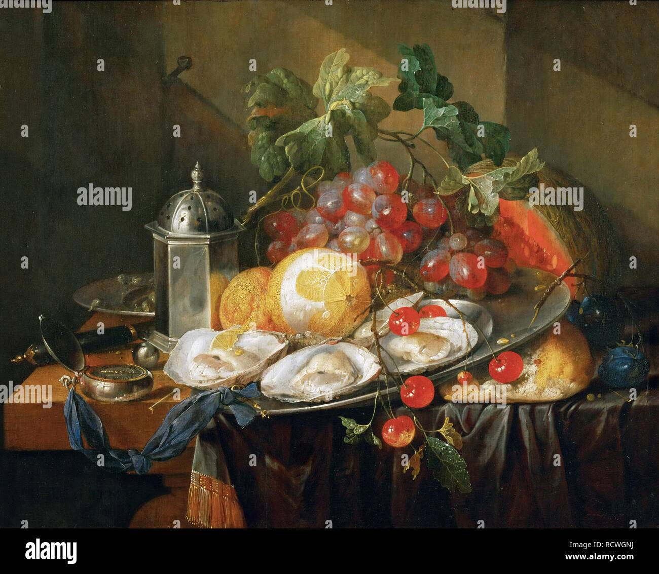 La colazione ancora in vita. Museo: Museo di Storia dell'arte, Vienne. Autore: HEEM, JAN DAVIDSZ DE. Foto Stock