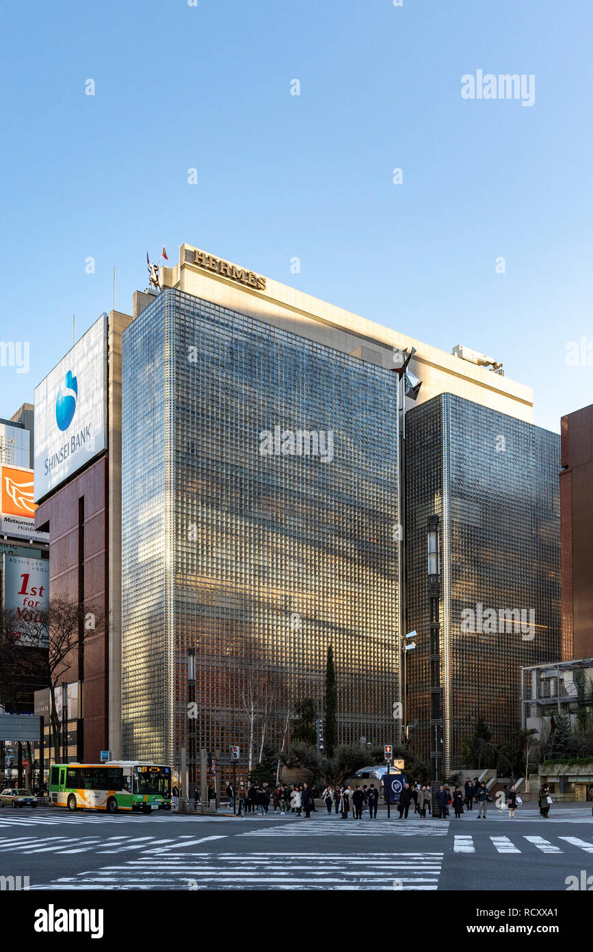 Ginza Maison Hermes, Chuo-Ku, Tokyo, Giappone. Progettato da Renzo Piano. Costruito nel 2001. Foto Stock