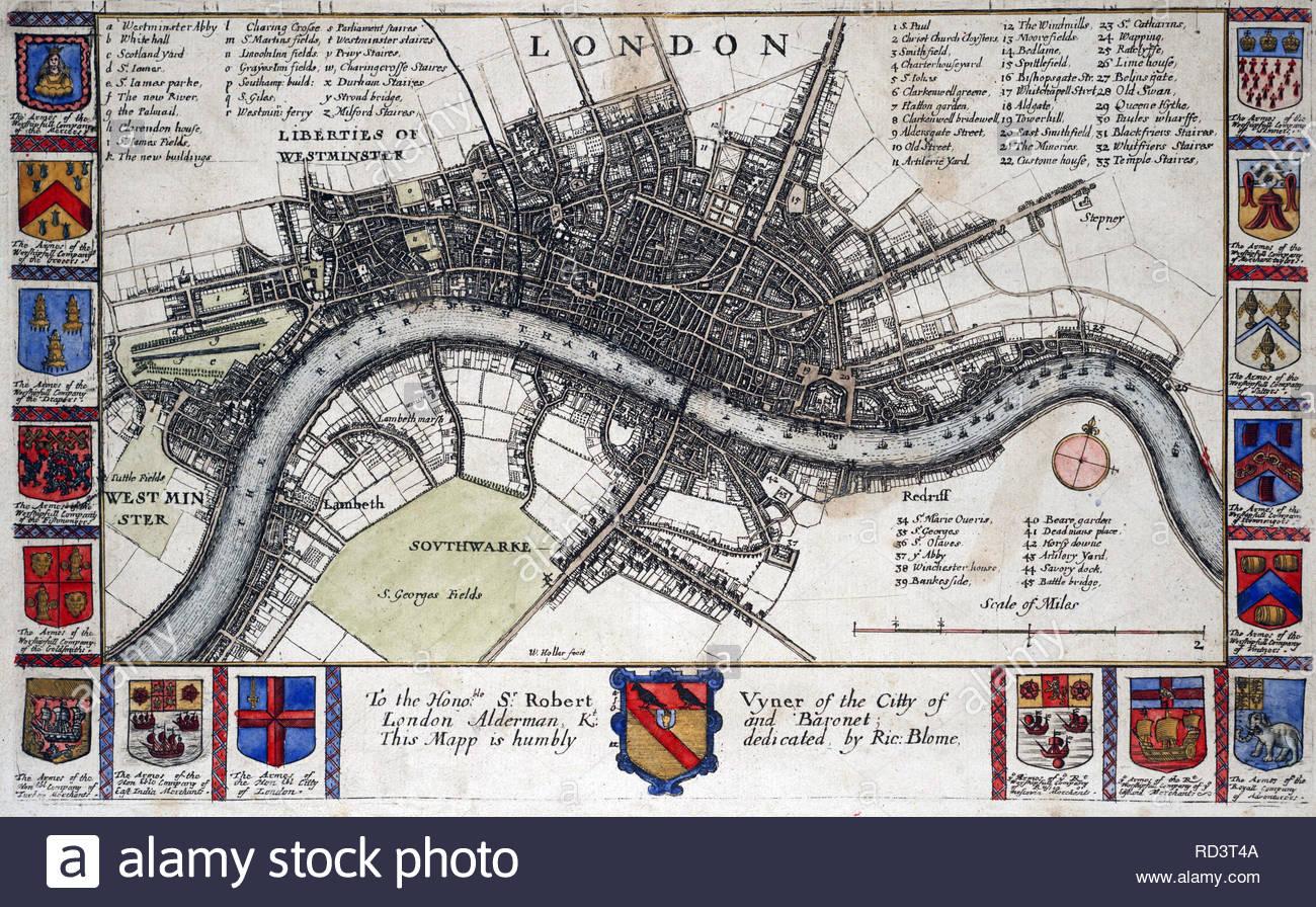 Cartina Di Londra Da Stampare.Mappa Di Londra Prima Che Il Grande Incendio Del 1666 L Attacco Da Incisore Boemo Wenceslaus Hollar Da 1600s Foto Stock Alamy
