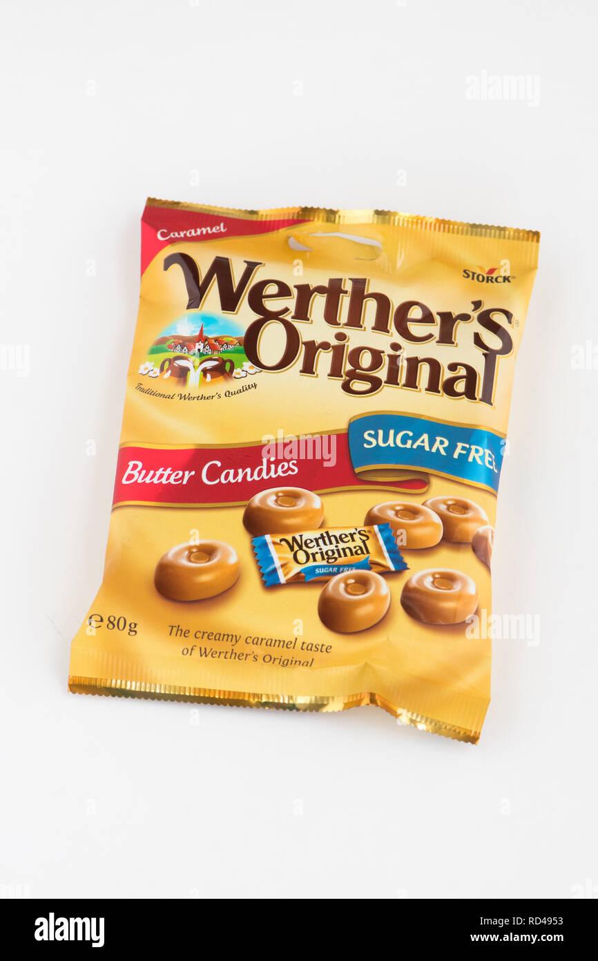 Zucchero libero burro dolci caramelle - Originale Werthers Zucchero libero Immagini Stock