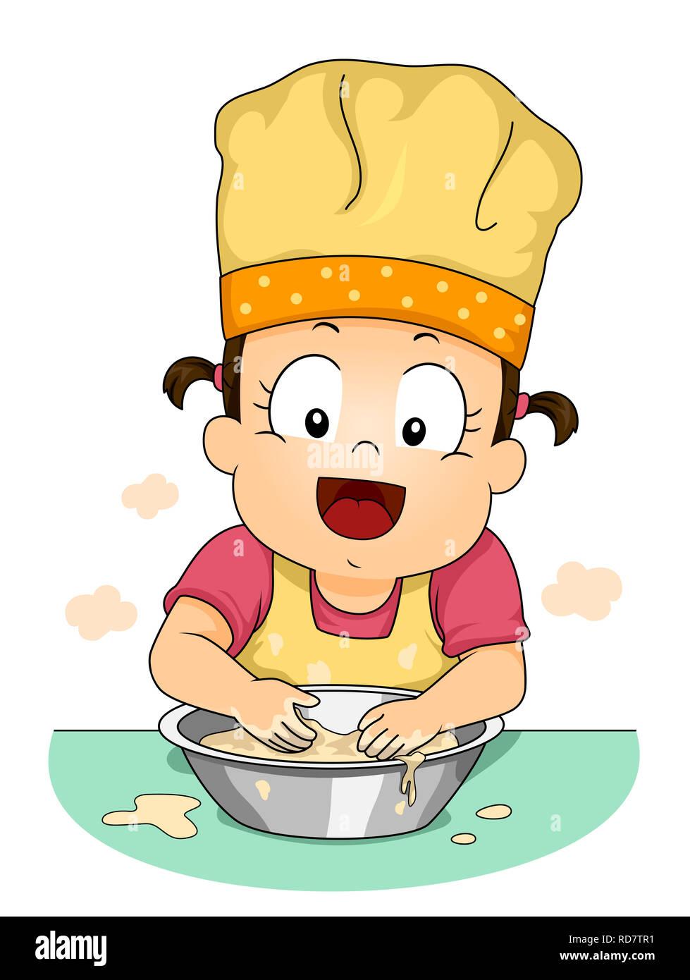 Illustrazione di una ragazza di capretto Toddler indossando Chef Hat e gli  impasti Immagini Stock 7357c8d05c0b