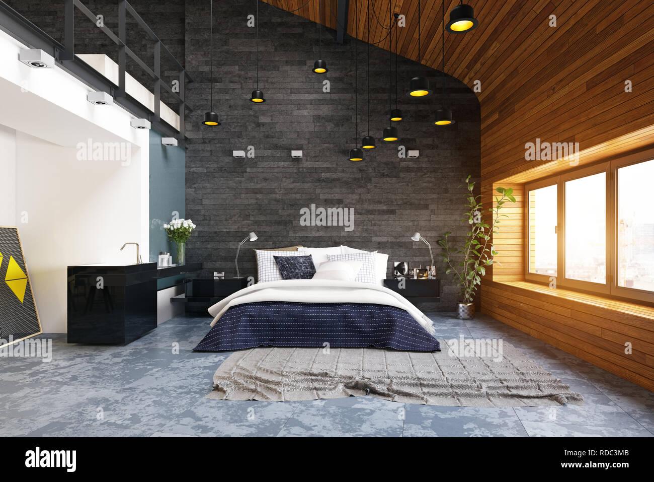 Design Camera Da Letto Moderna moderna camera da letto loft interni. il rendering 3d design