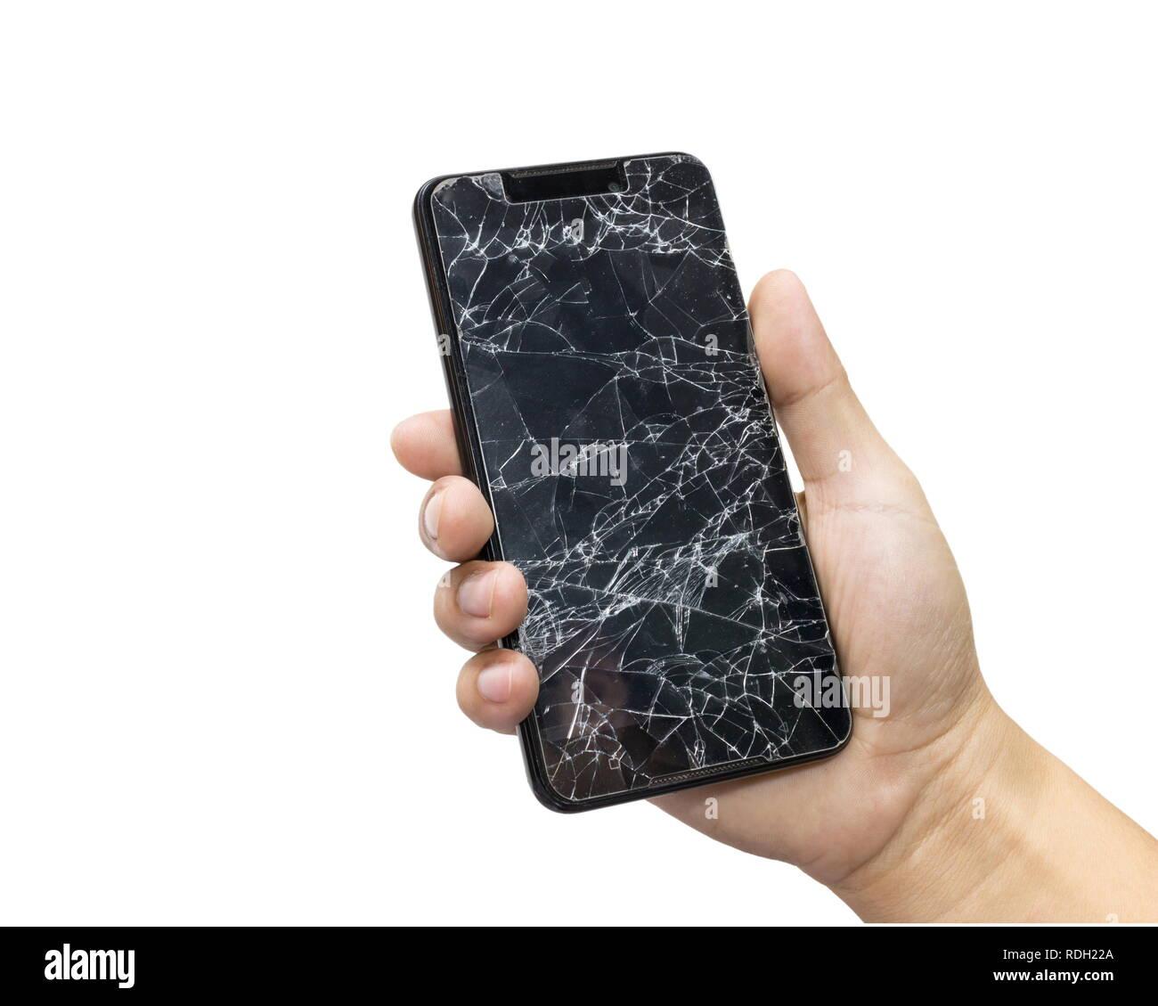 Uomo Con Un Nero Telefono Cellulare E Schermo Rotto Isolato Su Uno