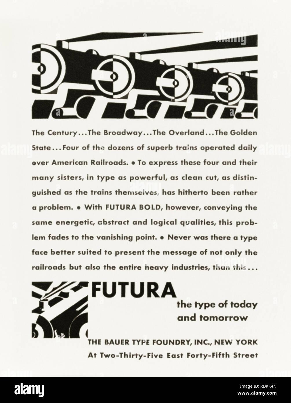 """""""FUTURA del tipo di oggi e di domani (die Schrift , Unserer Zeit)"""" 1930 annuncio pubblicitario dal tipo Bauer Fonderia, Inc., NYC sull'introduzione di Futura, carattere sans-serif disegnato da Paolo Renner (1878-1956) nel 1927, primo rilascio in Nord America. Il carattere tipografico è invecchiata bene ed è ancora ampiamente usato nella cultura popolare. Credito: Collezione privata / AF BOCCHERINI Immagini Stock"""
