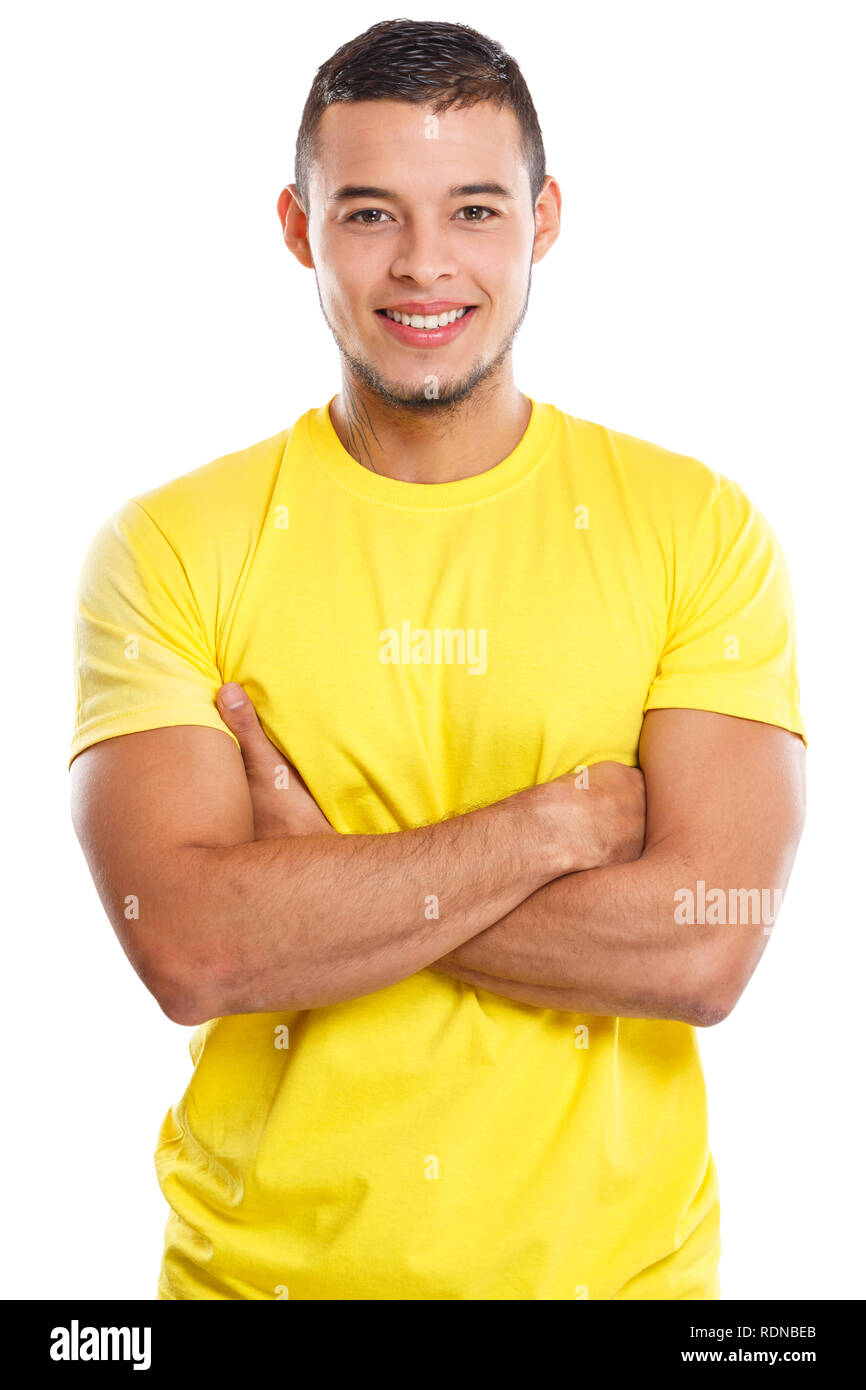 Giovane corpo superiore ritratto sorride persone isolate su uno sfondo bianco Immagini Stock