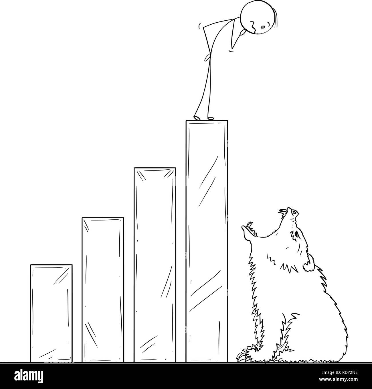 Cartoon di imprenditore su sollevamento grafico finanziario finendo per aprire bocca di Orso Immagini Stock