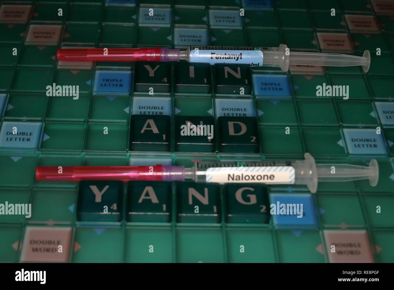 Yin e Yang concetto di un farmaco e antidoto Immagini Stock