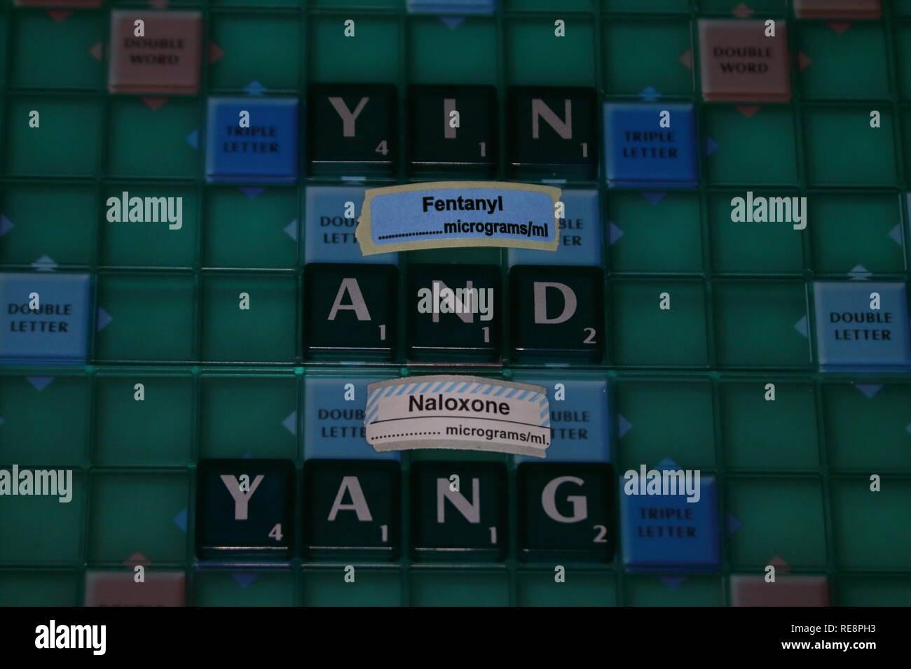 Yin e Yang concetto di un farmaco e antidoto Foto Stock
