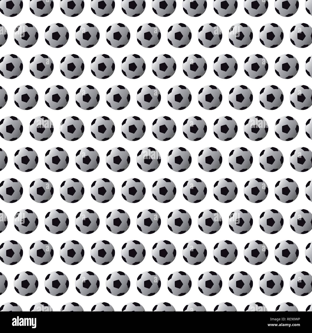 Modello senza soluzione di continuità con il calcio (calcio) sfere nero su sfondo bianco Immagini Stock