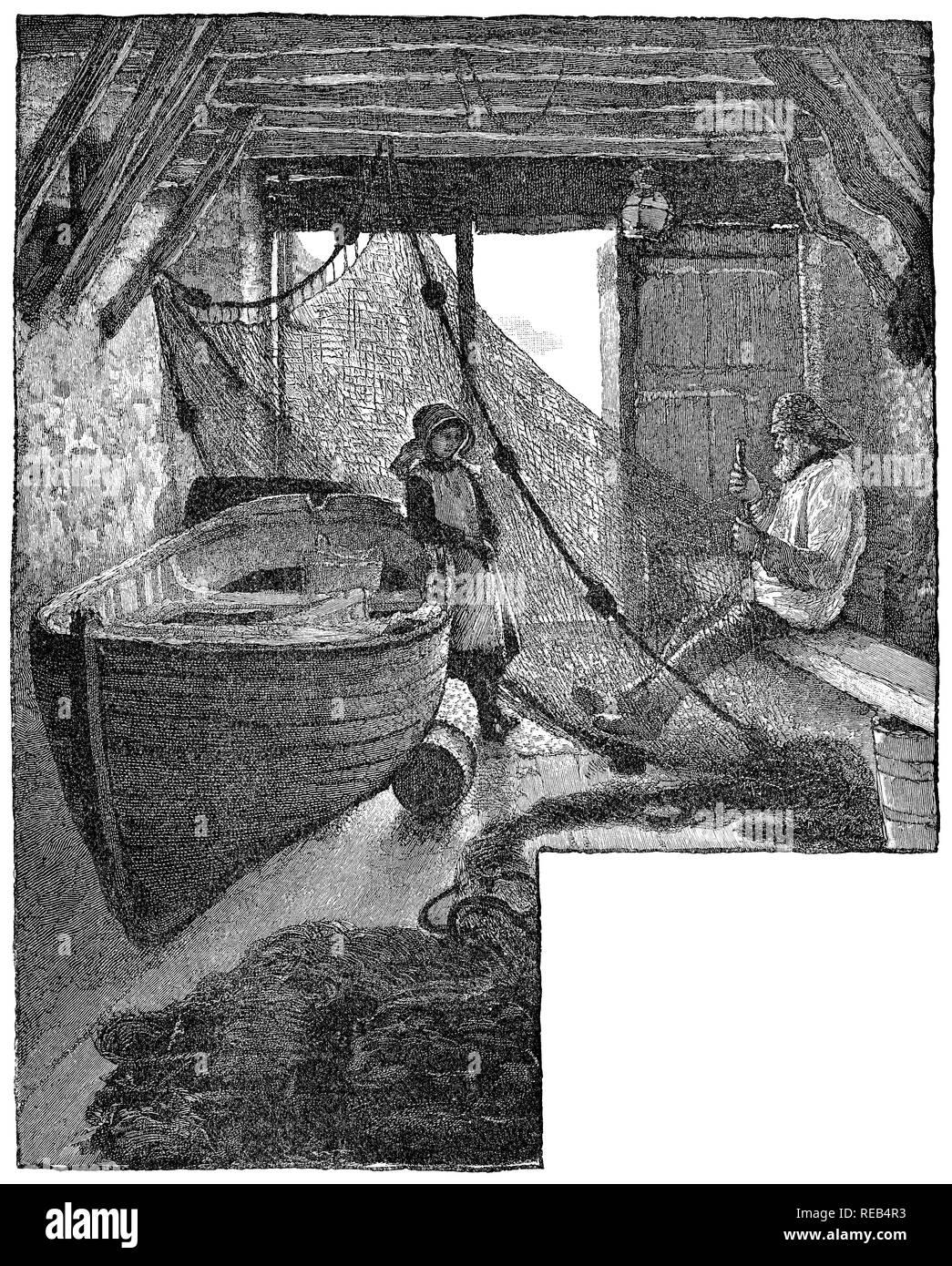 1884 incisione di un pescatore cantina vicino la lucertola in Cornovaglia. Immagini Stock