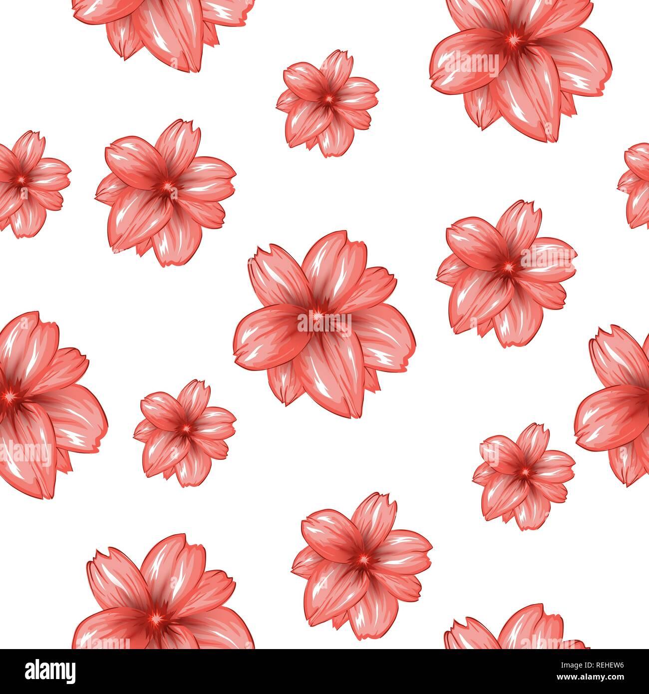 Modello Senza Cuciture Con Fiori Di Colore Rosa Su Sfondo Bianco