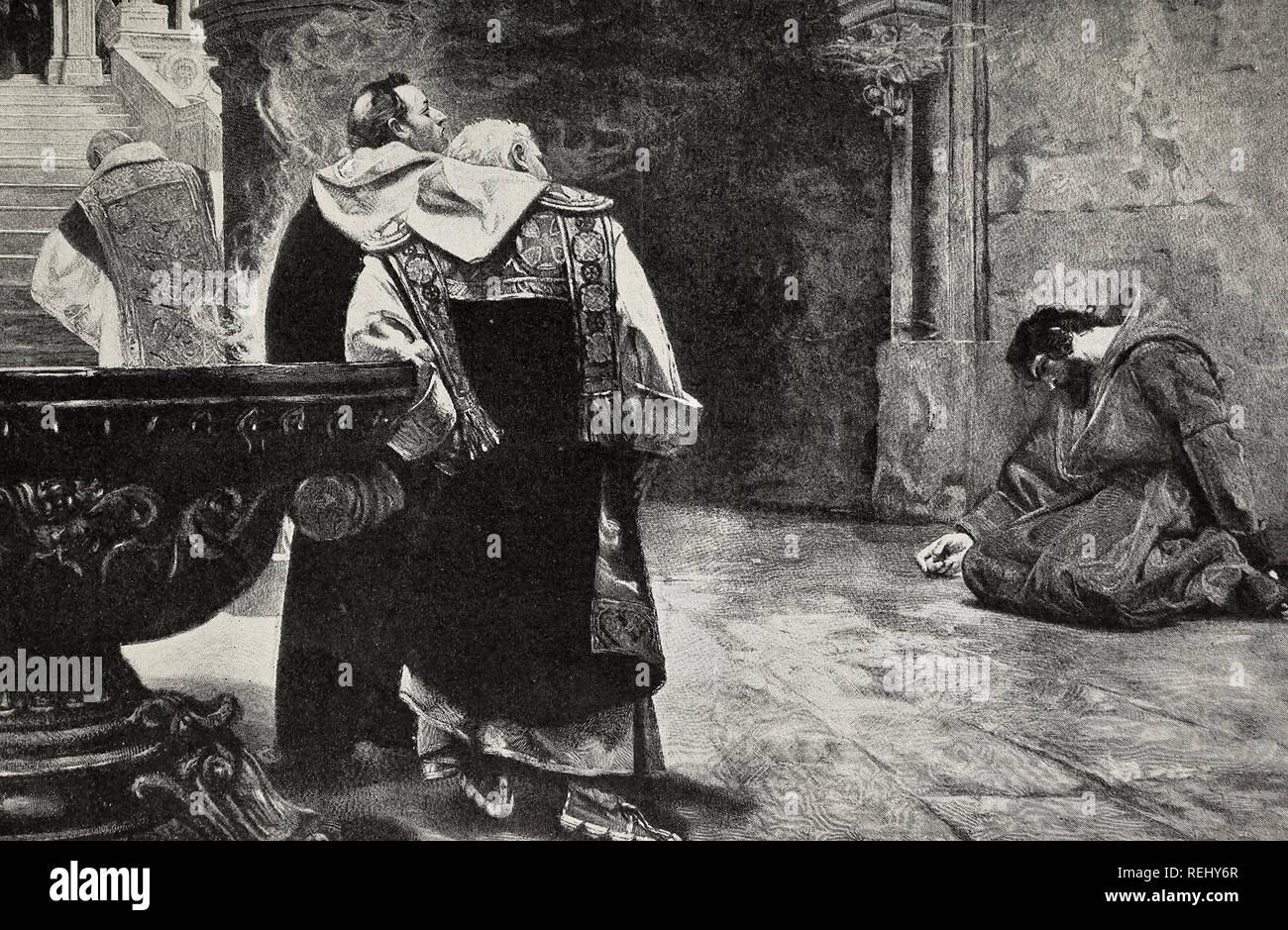 La leggenda di Papa Urbano IV rifiutando il perdono al cavaliere Tannhauser, 1200s Immagini Stock