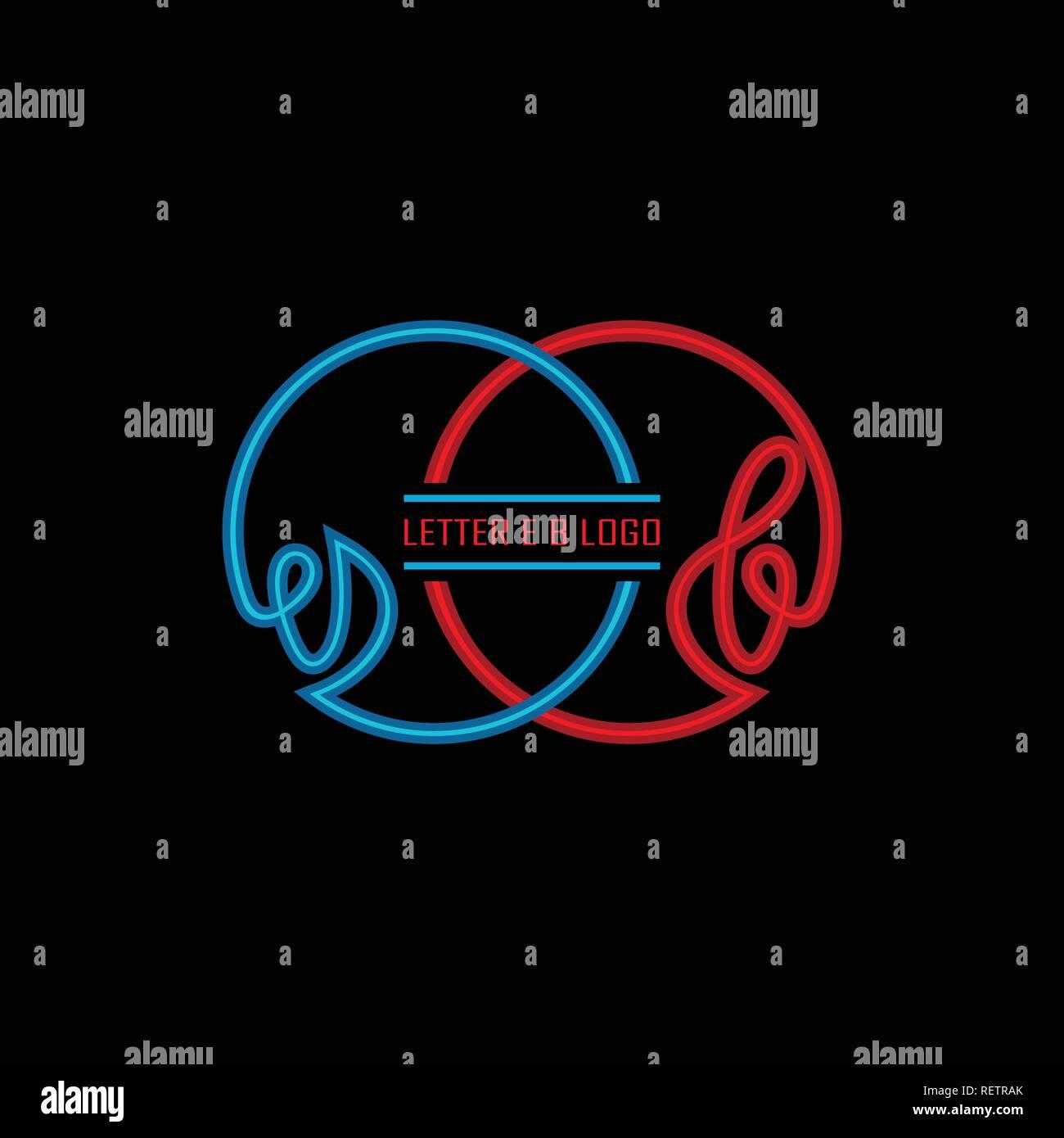 Lettera Iniziale E Logo B Stile Di Linea Blu Con Colore Rosso