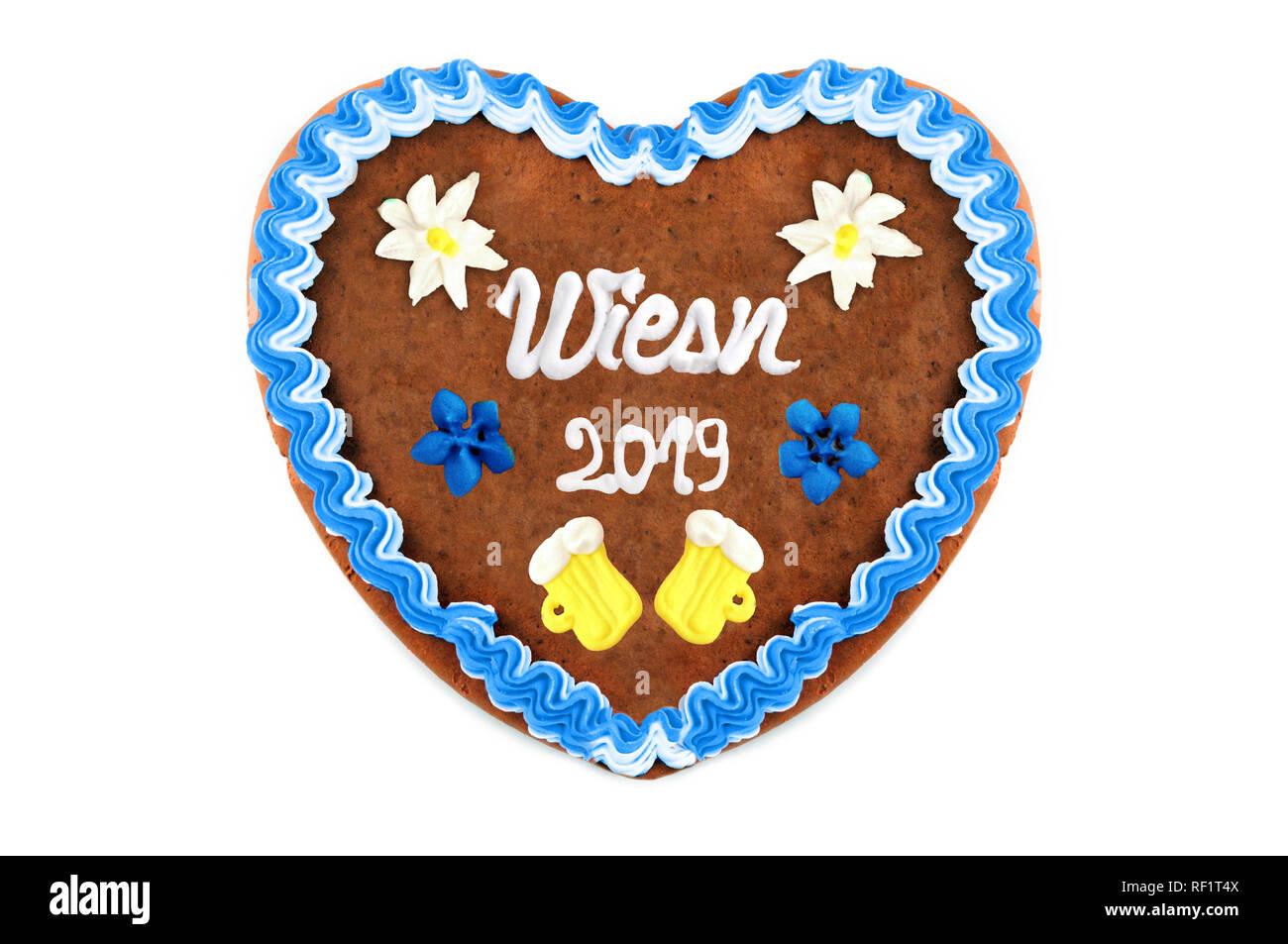 Oktoberfest 2019 Gingerbread cuore bianco con sfondo isolato. Ottobre festival è una birra stagionale evento in Monaco di Baviera (Germania). Tradizionale cuore ca Foto Stock