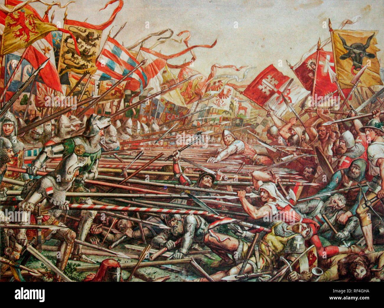 La battaglia di Sempach - La battaglia di Sempach è stata combattuta il 9 luglio 1386, tra Leopoldo III Duca di Austria e la Vecchia Confederazione Svizzera. La battaglia è stata una decisiva vittoria della Svizzera in cui il Duca Leopoldo e numerose nobili austriaci sono morti. Immagini Stock