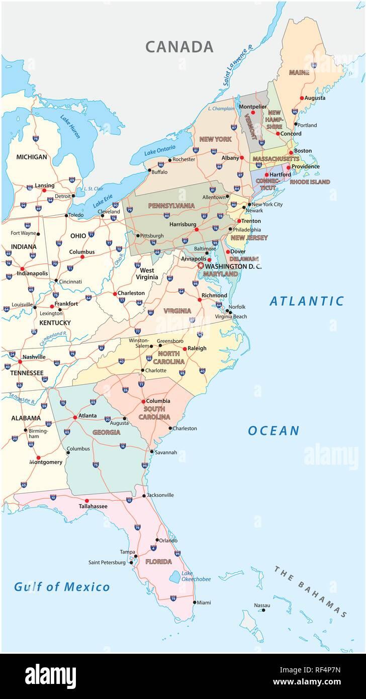 Mappa vettoriale della costa orientale, Stati Uniti Immagini Stock