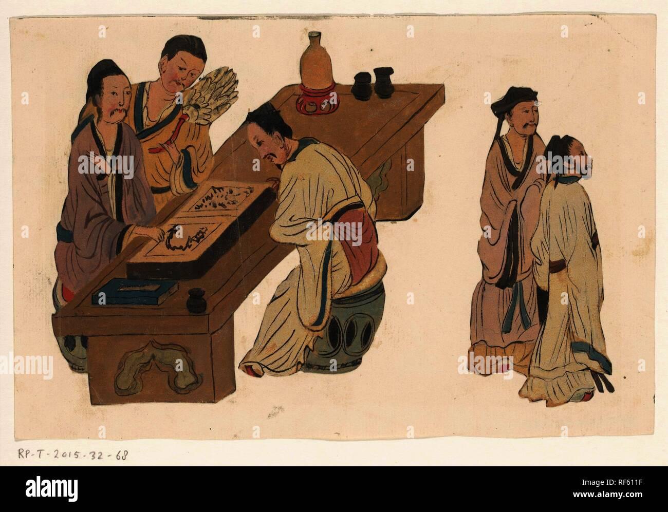 Libraio cinese. Relatore per parere: anonimo. Dating: 1800 - 1899. Misurazioni: h 145 mm × W 222 mm. Museo: Rijksmuseum Amsterdam. Immagini Stock
