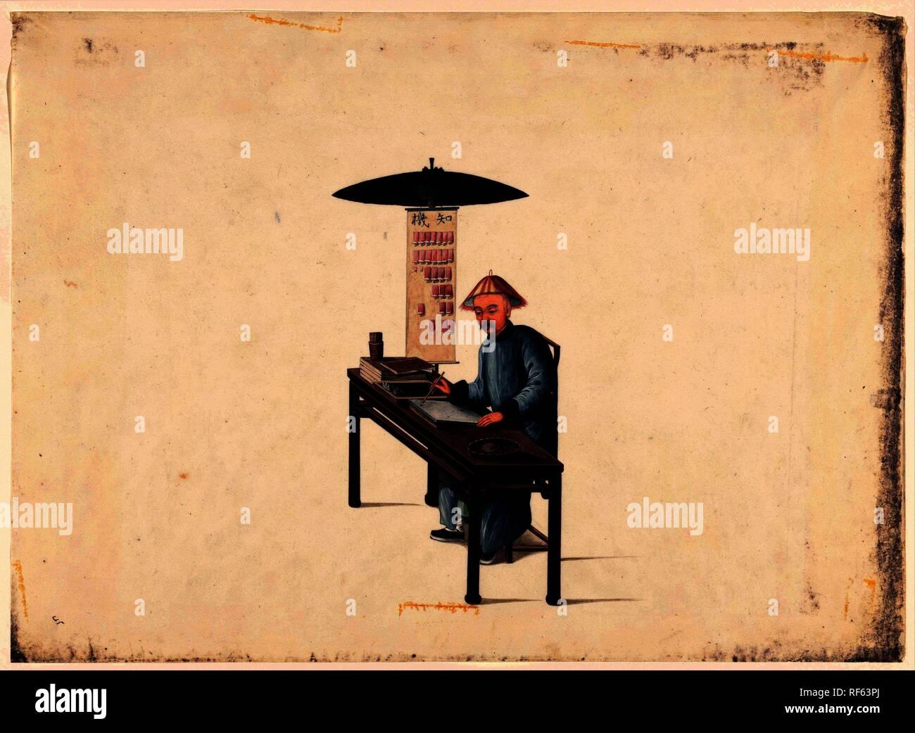 Fortuneteller cinese. Relatore per parere: anonimo. Dating: 1800 - 1899. Luogo: Cina. Misurazioni: h 362 mm × W 495 mm. Museo: Rijksmuseum Amsterdam. Immagini Stock