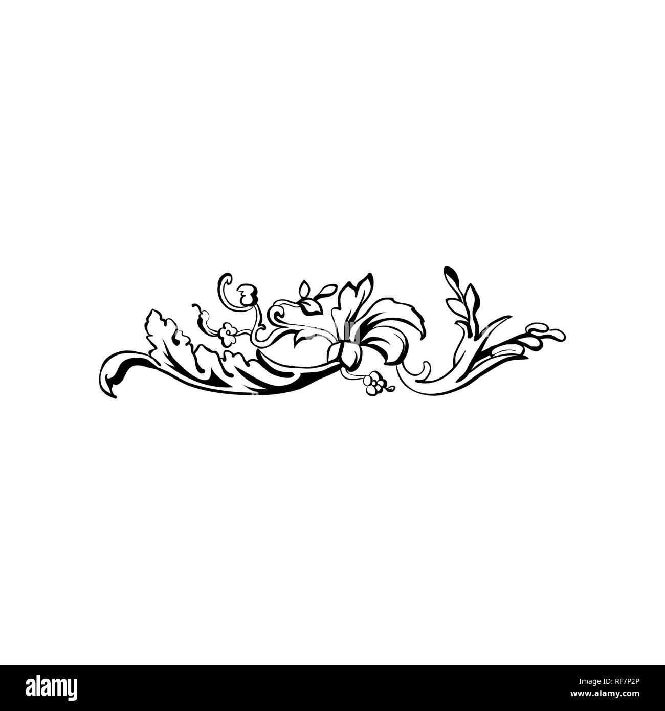 Prosperare testo vettoriale divisore. Vintage floreale di abbellimento calligrafico. Isolato nero ornati in elemento di design. Scrollwork decorativo clipart. Invito, biglietto di auguri, poster filigrana della decorazione Immagini Stock