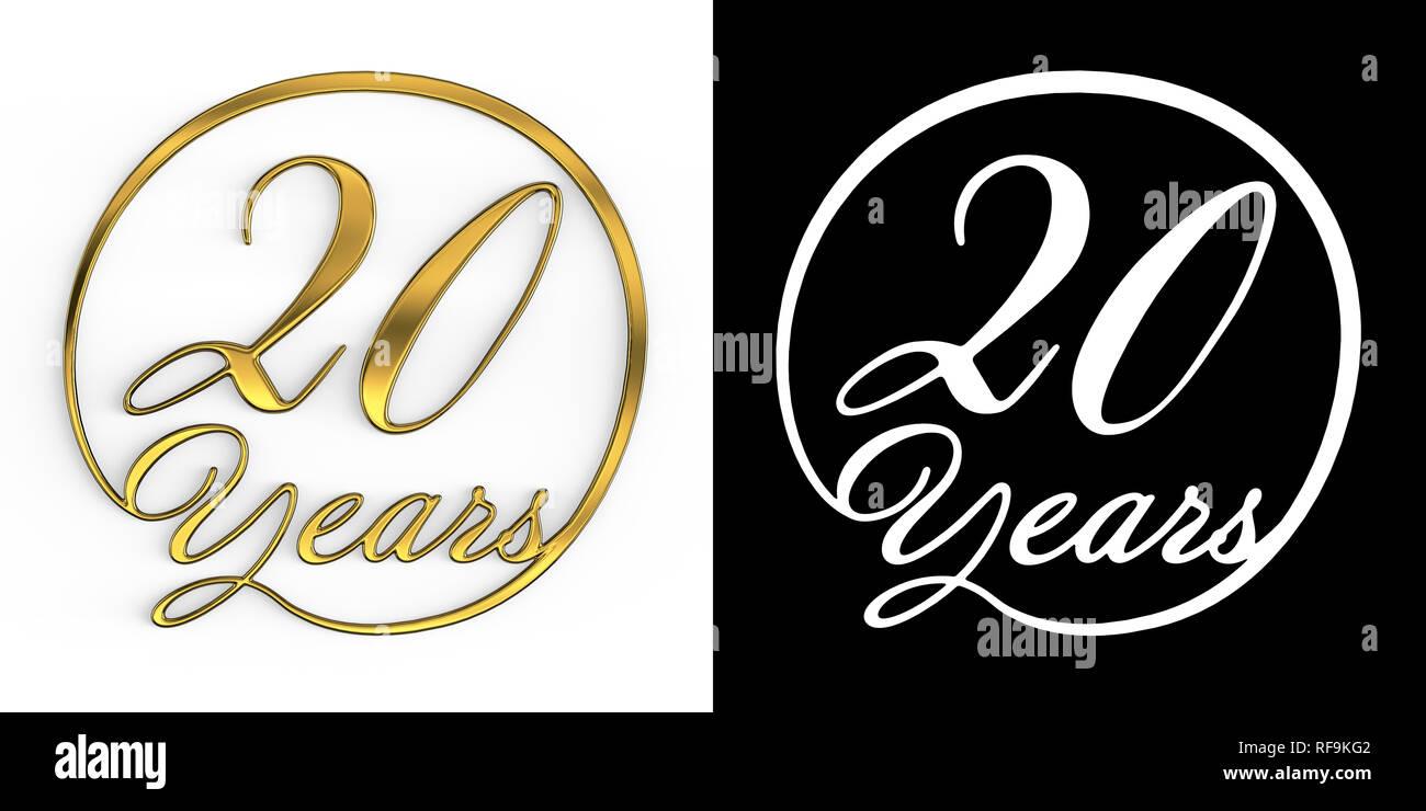 Numero aureo venti anni (numero venti anni) in un cerchio, vista dall'alto, con canale alfa. 3D illustrazione Immagini Stock