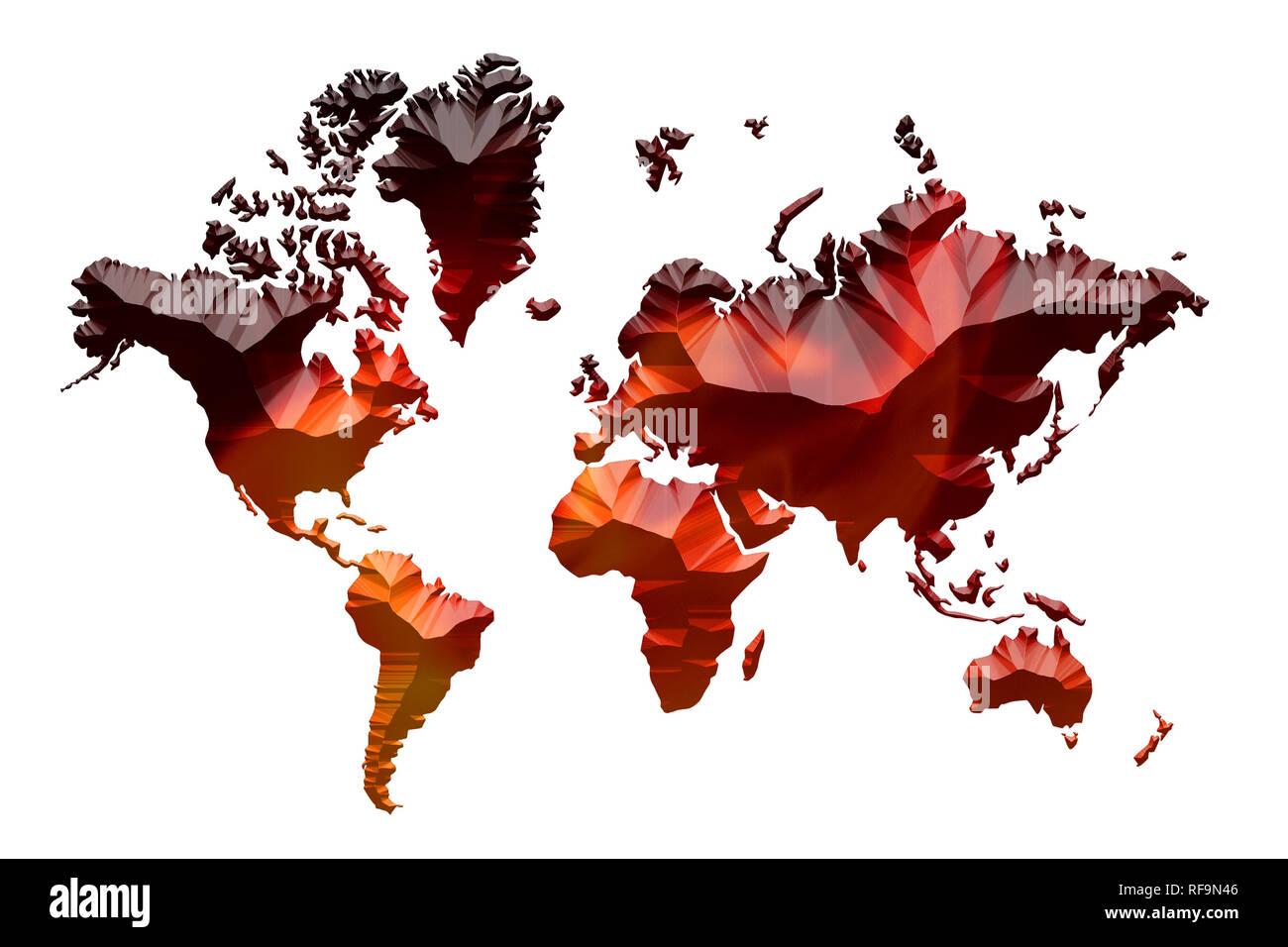 Rosso fuoco che arde in forma di mappa del mondo su sfondo bianco con abbondanza di spazio di copia per il testo Immagini Stock