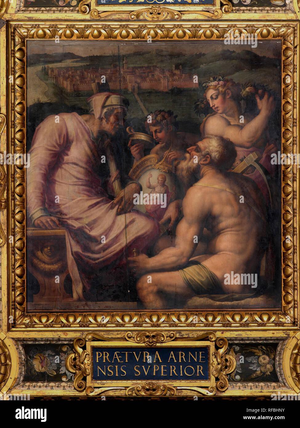 Allegoria di San Giovanni Valdarno. Data/Periodo: 1563 - 1565. Pittura Di Olio su legno. Altezza: 250 mm (9,84 in); larghezza: 250 mm (9,84 in). Autore: Giorgio Vasari. VASARI GIORGIO. Foto Stock