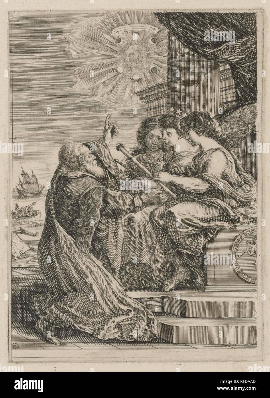 Frontespizio per opere de Galileo Galilei. Data/Periodo: 1656. Attacco chimico. Larghezza: 17,8 cm. Altezza: 24,9 cm (foglio). Autore: Stefano della Bella. Immagini Stock