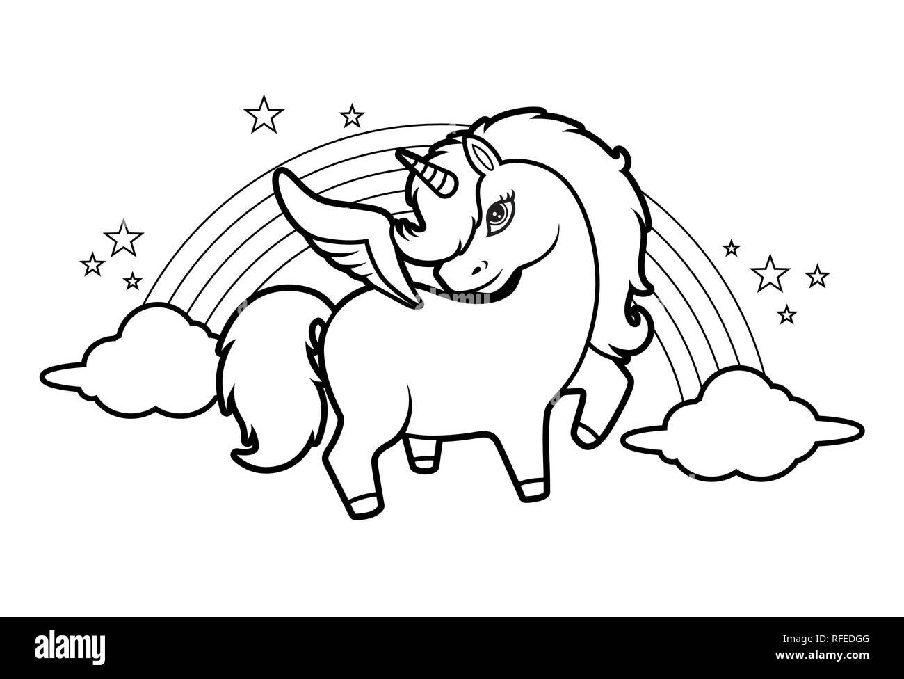 Piccolo grazioso unicorno magico rainbow e stelle libro for Arcobaleno da colorare per bambini