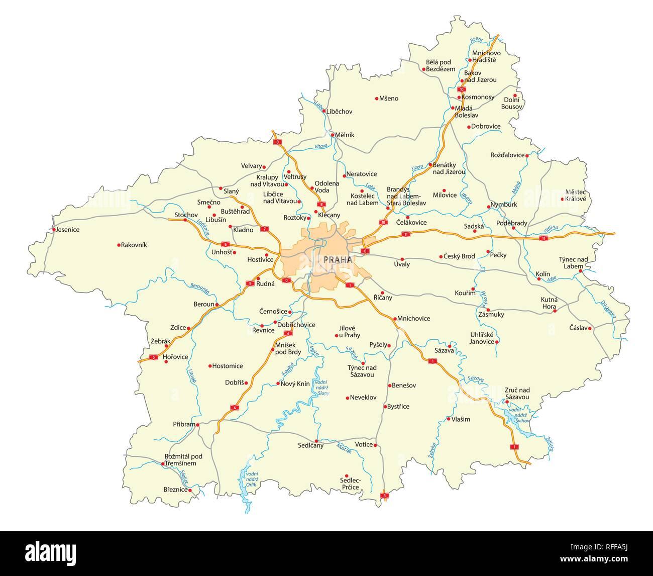 Mappa stradale della regione ceca Stredocesky kraj (Boemia centrale) Immagini Stock