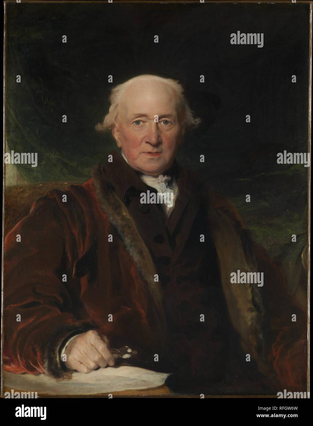 "Sir Thomas Lawrence (British, Bristol 1769â€""1830 Londra) John Julius Angerstein (1736â€""1823), olio su tela, 36 x 28. (91,4 x 71,1 cm) il Metropolitan Museum of Art di New York, il lascito di Adele L. Lehman, in memoria di Arthur Lehman, 1965 (65.181.9) http://www.metmuseum.org/Collections/search-the-collections/436852 Immagini Stock"