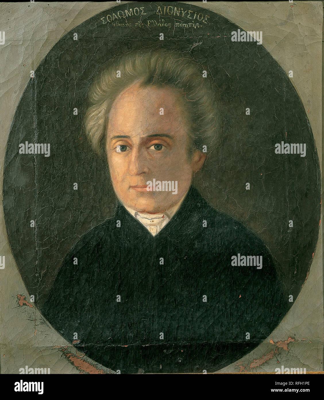 Dionisios Solomos. Data/Periodo: 1800 - 1899. La pittura. Altezza: 330 mm (12.99 in); larghezza: 300 mm (11,81 in). Autore: Artista sconosciuto. Immagini Stock