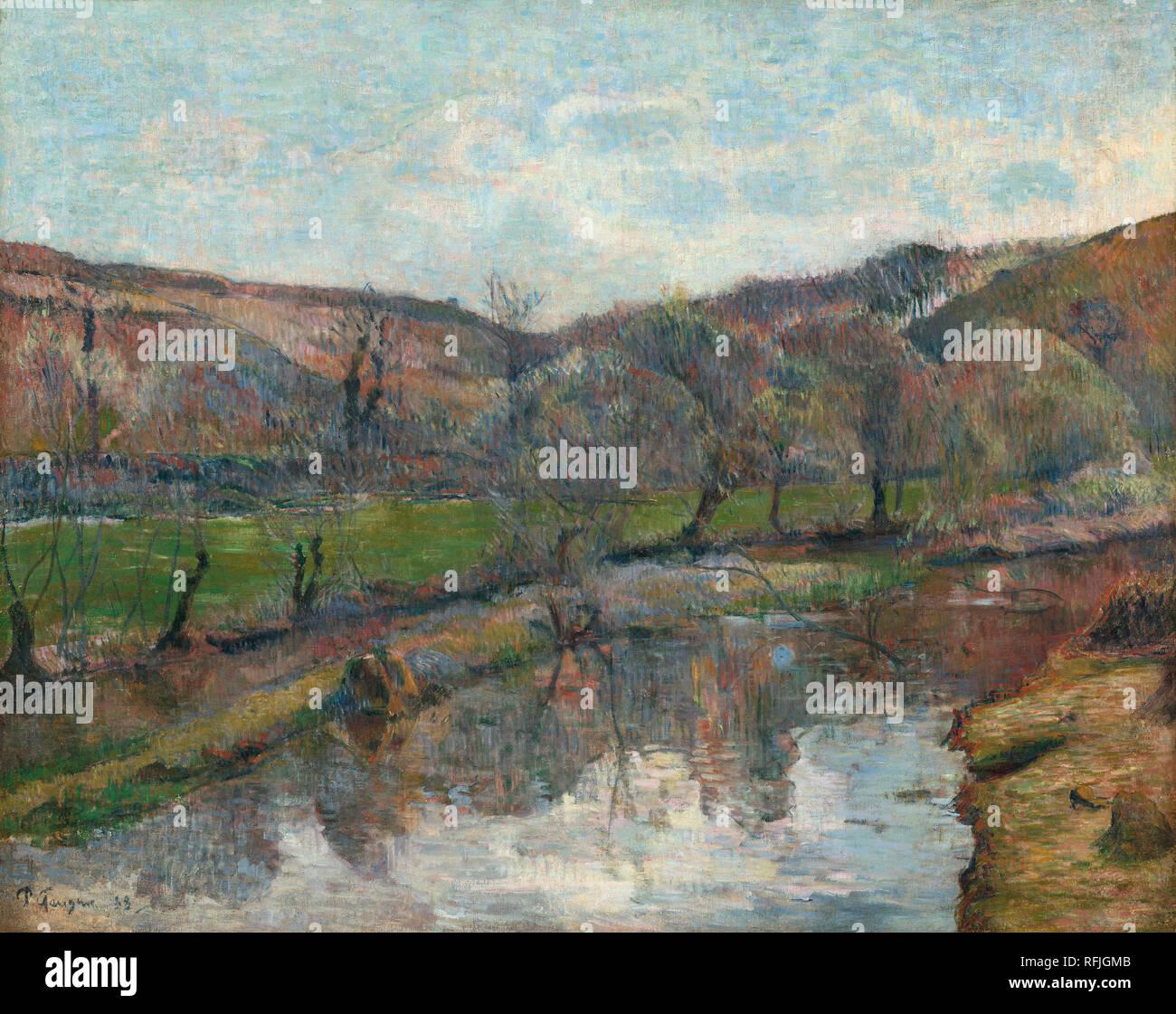 Brittany paesaggio. Data: 1888. Dimensioni: complessivo: 71,1 x 89,5 cm (28 x 35 1/4 in.) incorniciato: 91,4 x 115,6 cm (36 x 45 1/2 in.). Medium: olio su tela. Museo: National Gallery of Art di Washington DC. Autore: Paul Gauguin. Immagini Stock