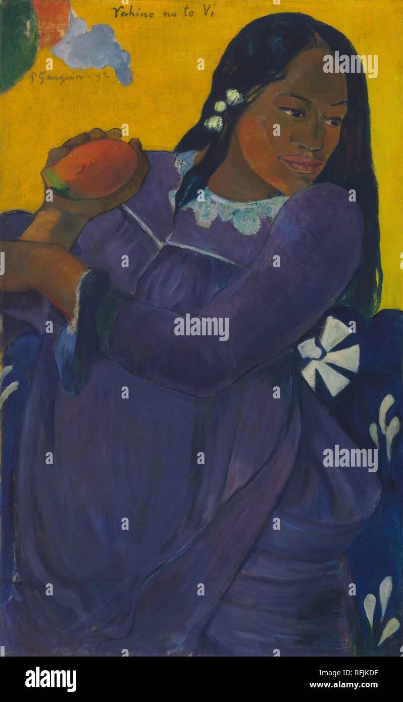 Vahine no te vi / donna con Mango. Data/Periodo: 1892. La pittura. Olio su tela. Altezza: 72,7 cm (28,6 in); Larghezza: 44,5 cm (17,5 in). Autore: Paul Gauguin. GAUGUIN, Paolo. Immagini Stock