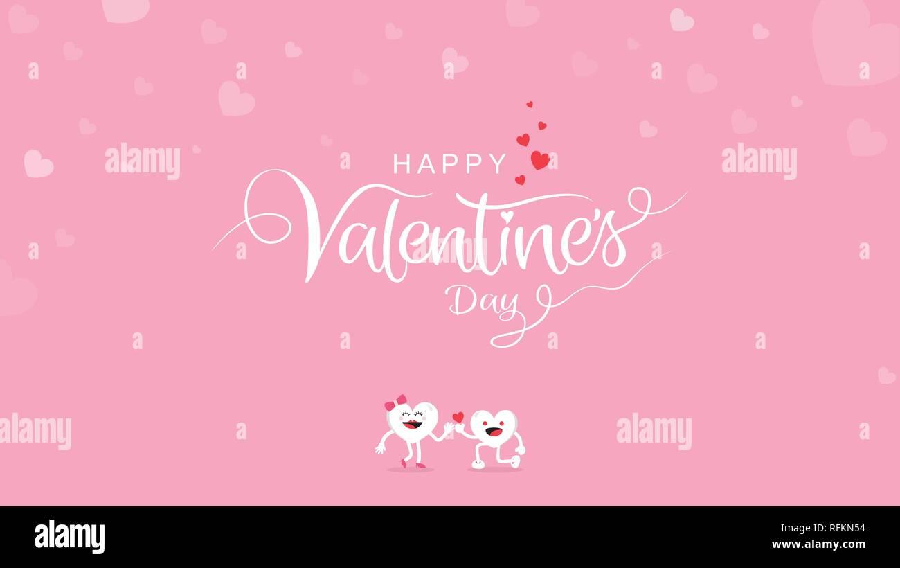 Il giorno di San Valentino lo sfondo con la calligrafia calligrafia con Cartoon carino su sfondo rosa. Illustrazione Vettoriale banner, biglietto di auguri, sfondo, po Immagini Stock