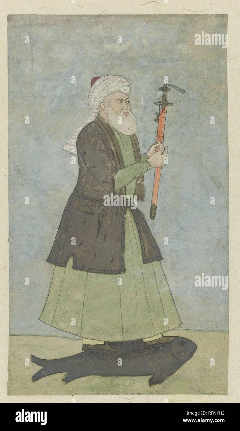 Saint Khwaja Khadir con una spada in mano. in piedi su un pesce, anonimo, 1800 - 1899.jpg - RFNYH2 Immagini Stock