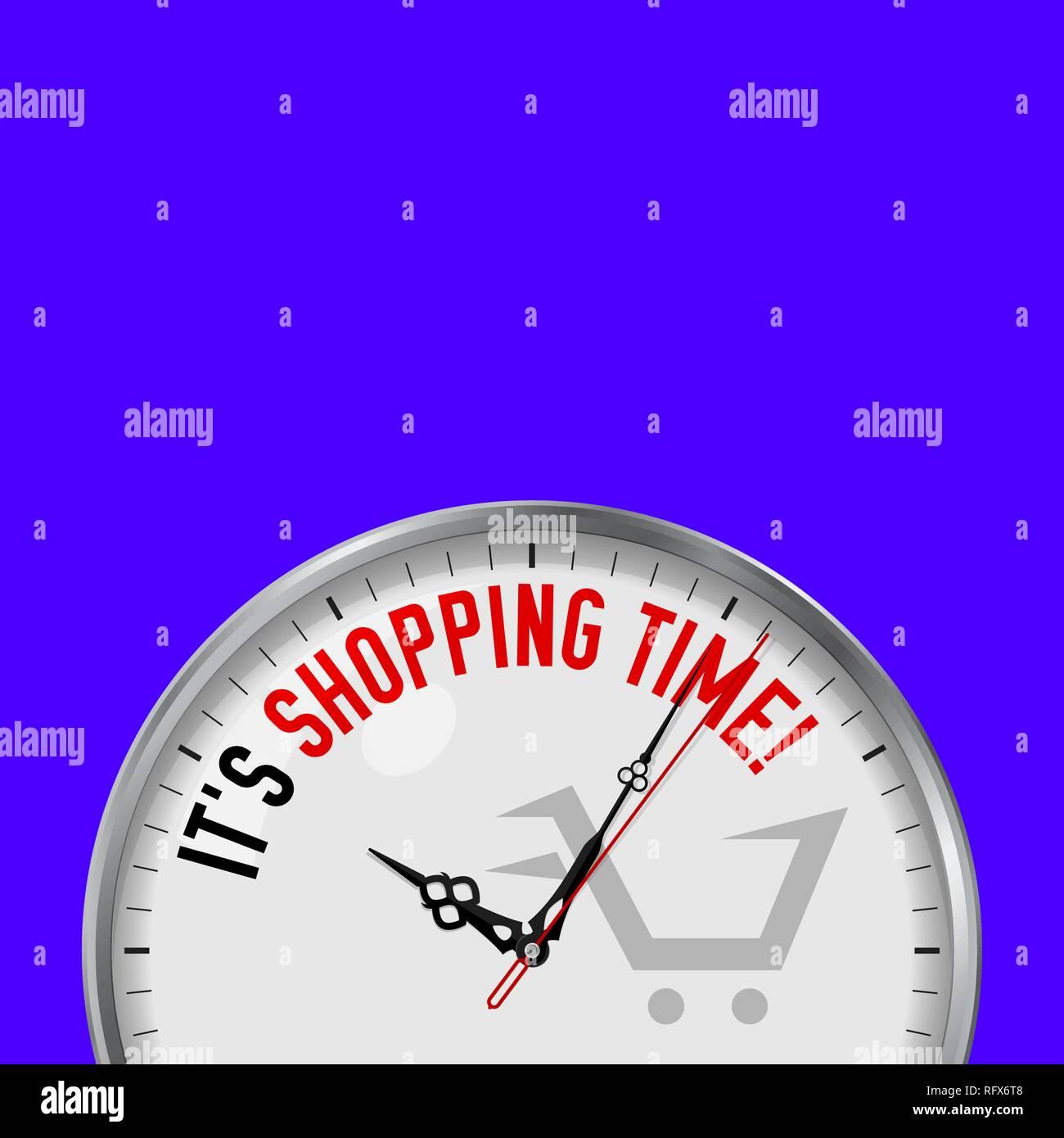 è Tempo Di Shopping Vettore Di Bianco Orologio Con Slogan