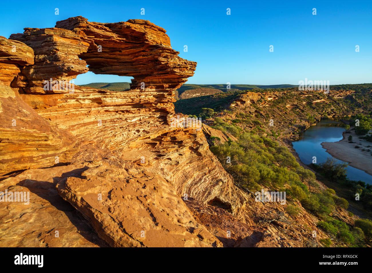 Finestra di natura nel deserto di kalbarri national park, Australia occidentale Immagini Stock
