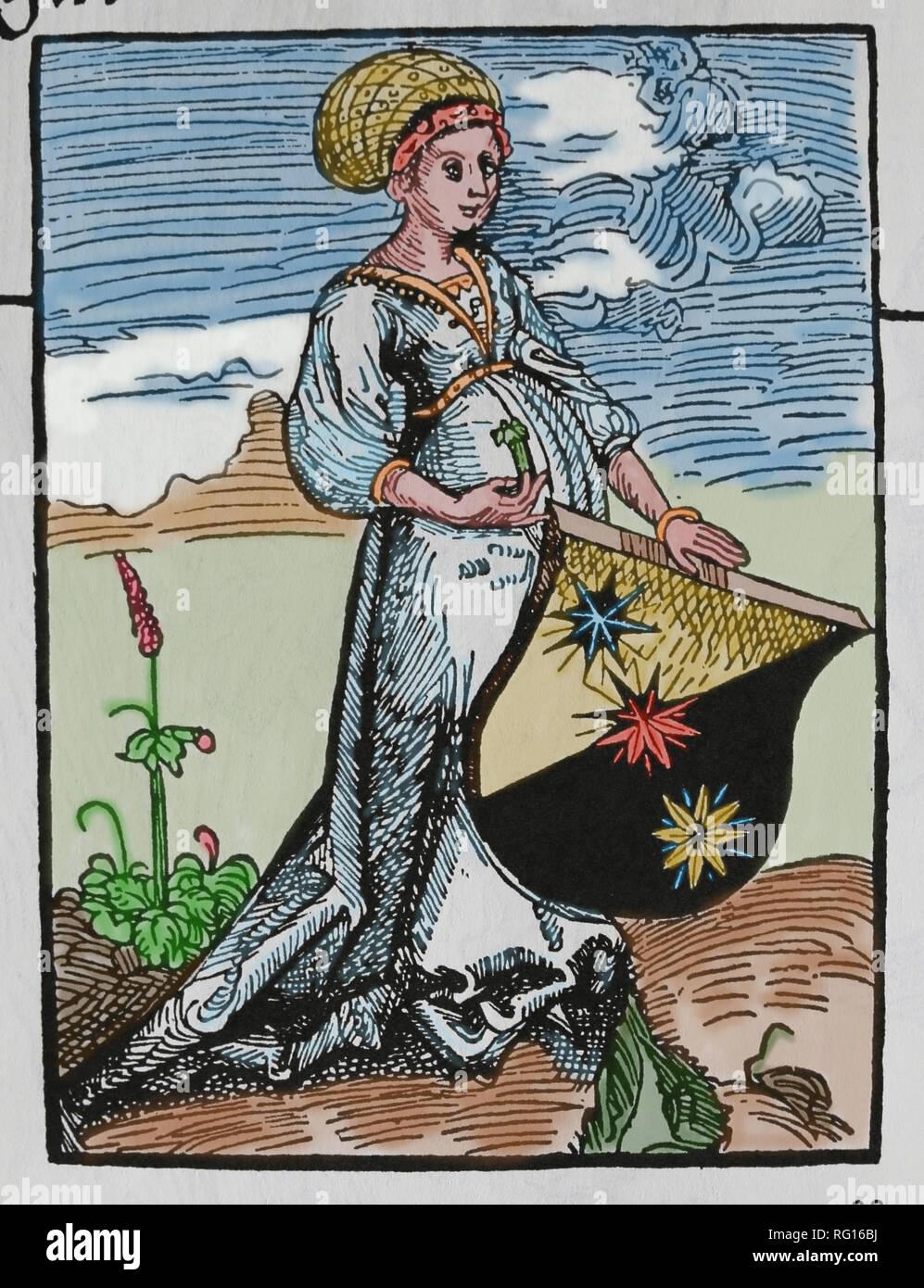 Titolo pagina per lo specchio o la vera alla retorica. Donna che mantiene lo stemma. La xilografia da Dürer. Immagini Stock