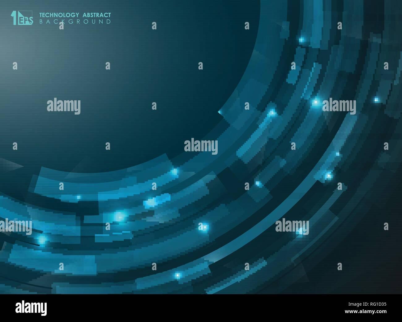 Gradiente astratto blu striscia futuristico linee curve. Presentazione della tecnologia di arte. Può utilizzare per brochure, banner, Foglio, Carta da parati, relazione annuale. V Immagini Stock