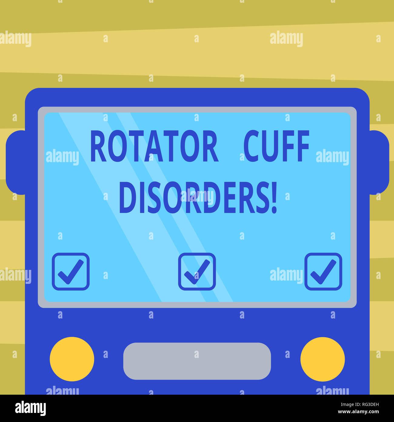 Segno di testo mostra della cuffia dei rotatori disturbi. Foto concettuale  dei tessuti in spalla b9158bddf39c