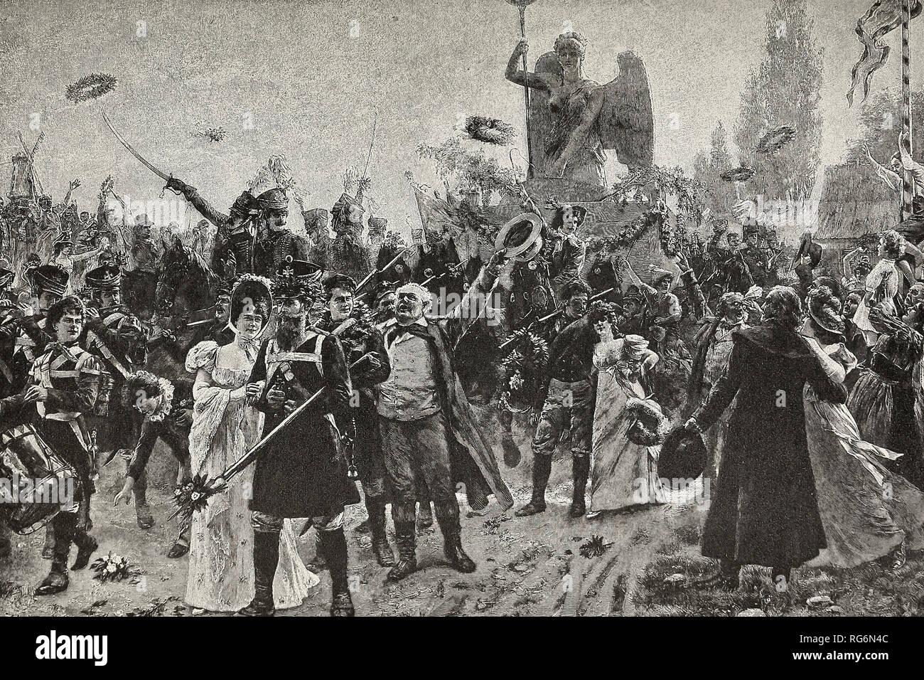 Il Trionfo di Berlino - La statua della Vittoria, catturato da Napoleone, viene ripristinata con festeggiamenti in 1814 Foto Stock