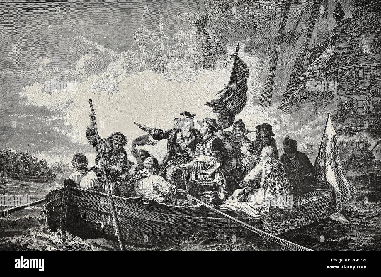 La fondazione della marina militare prussiano - Il Grande Elettore Federico cattura l'isola di Rügen Foto Stock